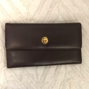 Etienne Aigner leather checkbook wallet with pen